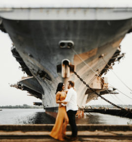 Navy Ship Yard Engagement | Gina & Anthony