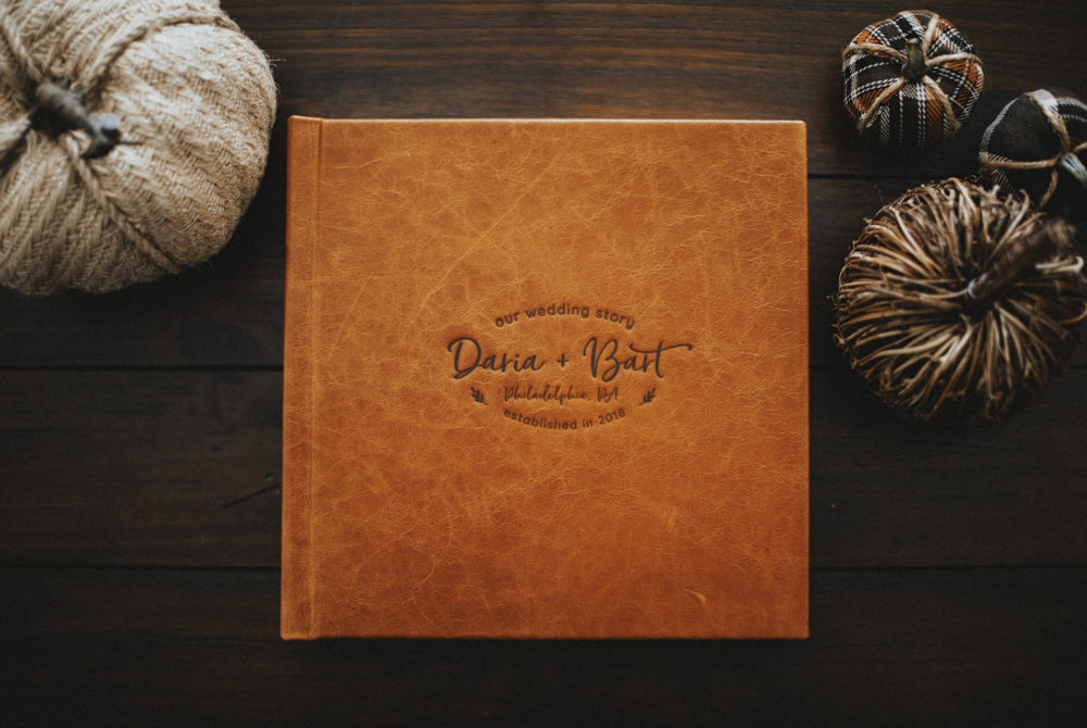 Leather wedding album debossing