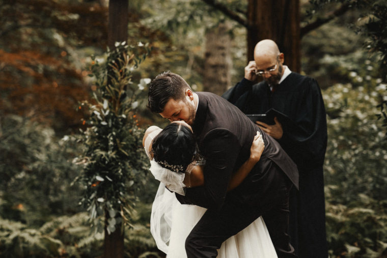 The Old Mill Wedding First Kiss