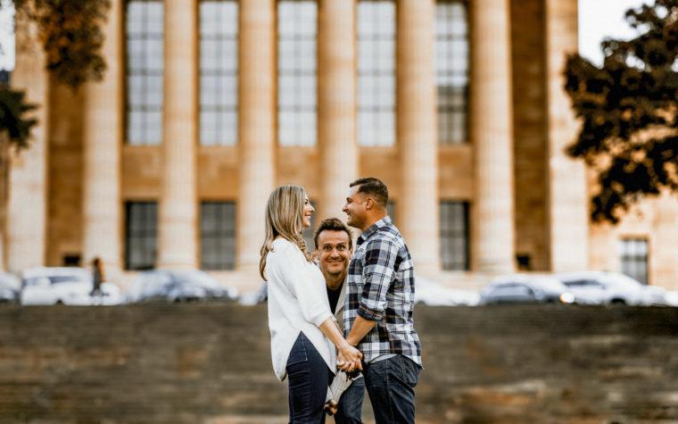 Philly Engagement Jason Segel Photobomb